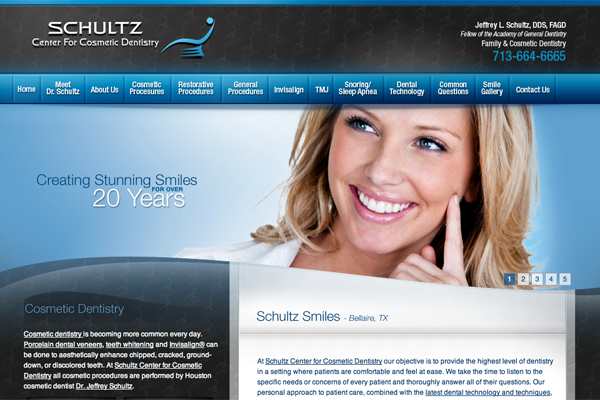 Dental Website Design Houston Schultz Center for Cosmetic Dentistry