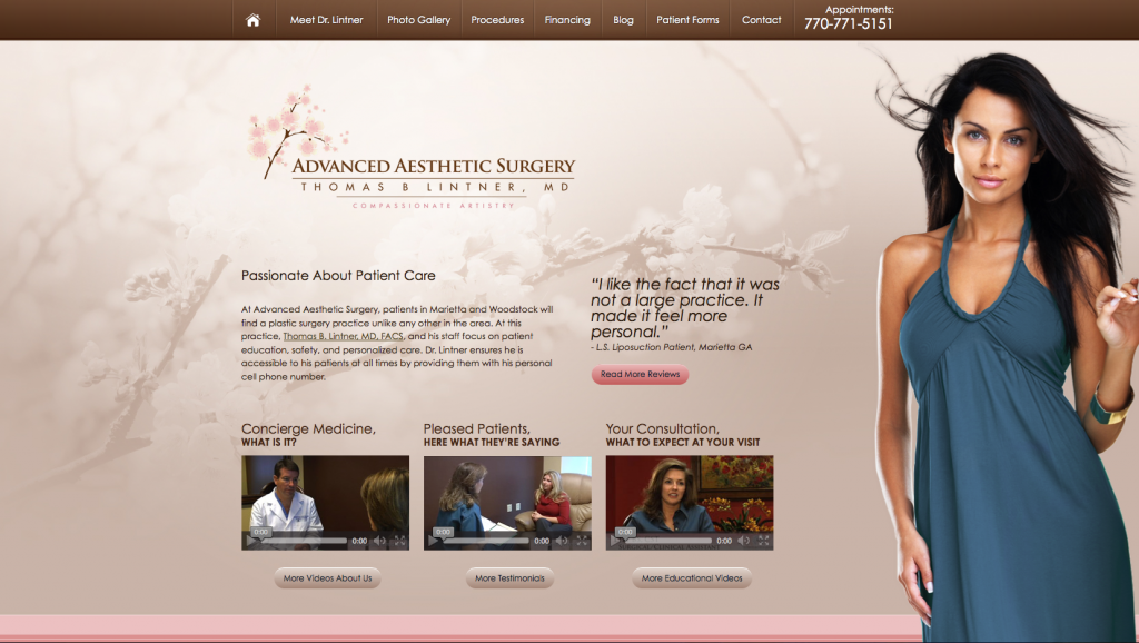 Atlanta plastic surgery, breast augmentation, plastic surgeon, medical website design, Dr. Thomas Lintner