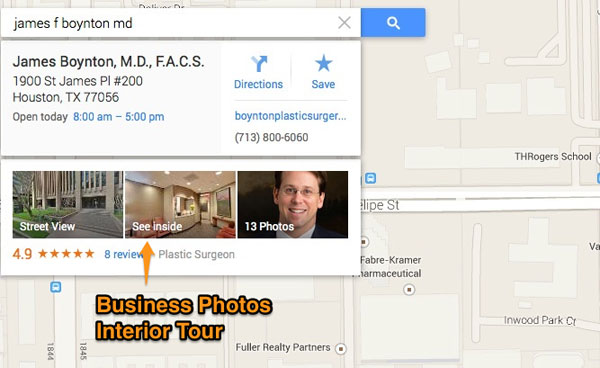 Business photos in maps