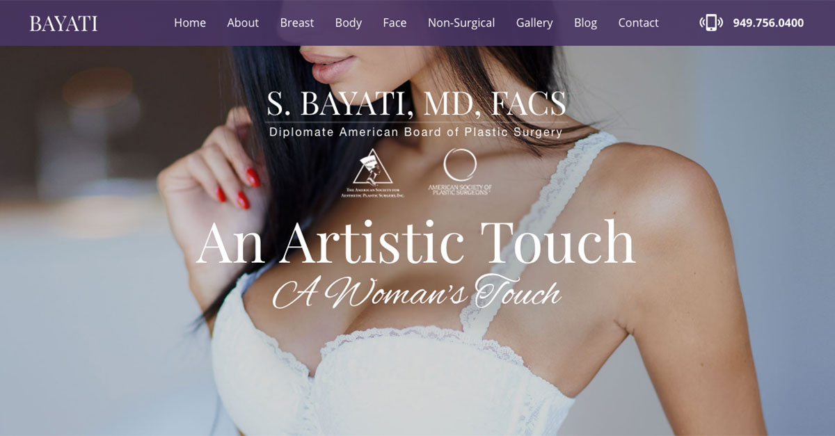 Newport Beach plastic surgeon Semira Bayati, MD launches new website.
