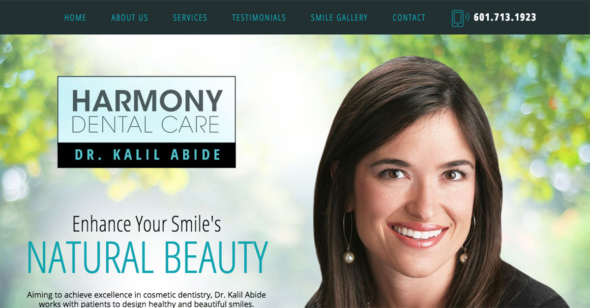 Dr. Abide launches new website design for dental practice.