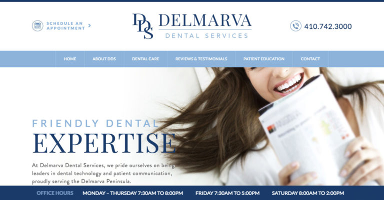 The General and Cosmetic Dentists at Delmarva Dental Services launch a new, responsive website.