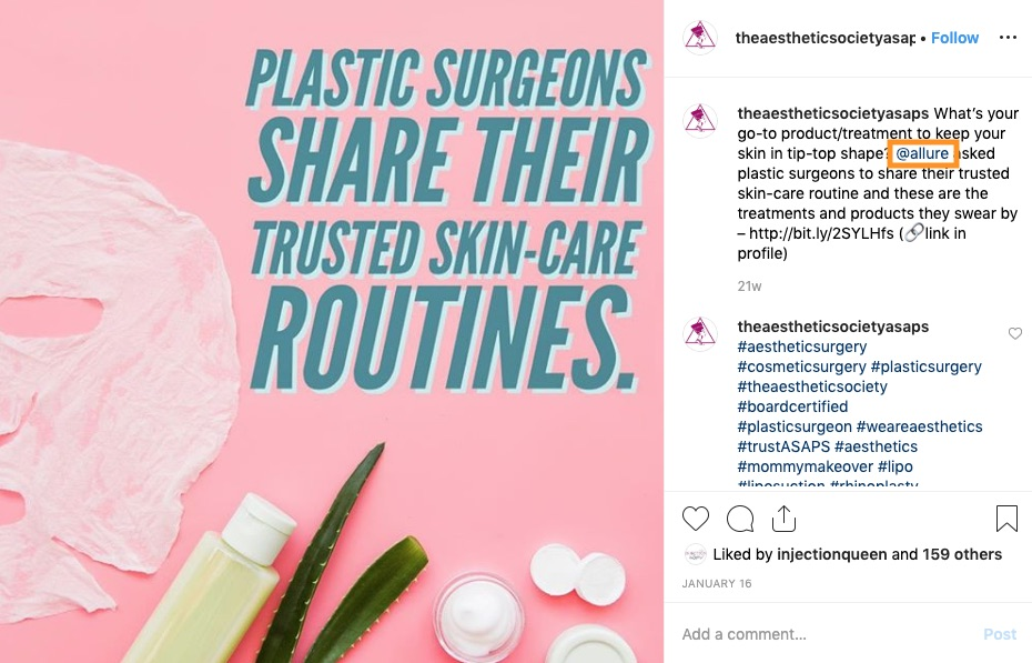ASAPS reposted content from Allure