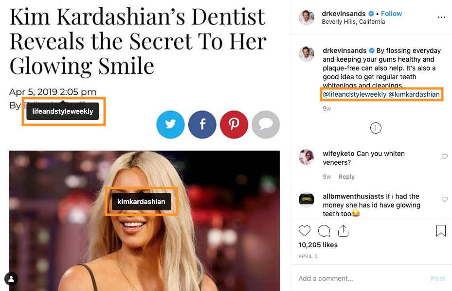 Dr. Kevin Sands credits Kim Kardashian and Life and Style Weekly in reposted Instagram content