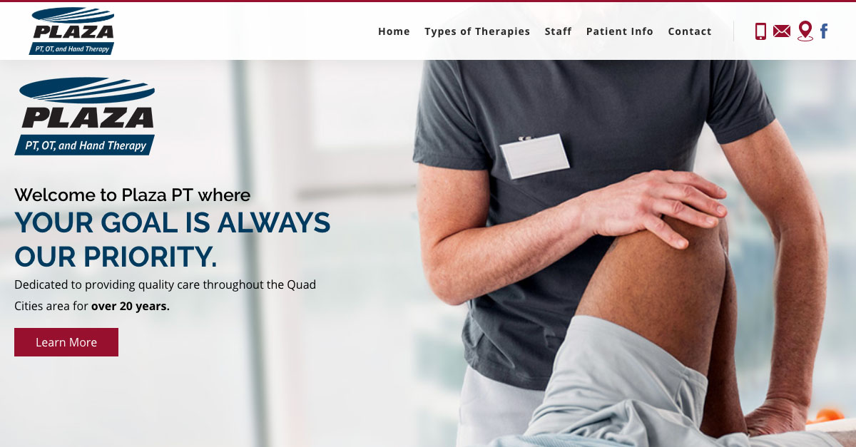 Plaza Physical Therapy worked with Rosemont Media for an updated website design.