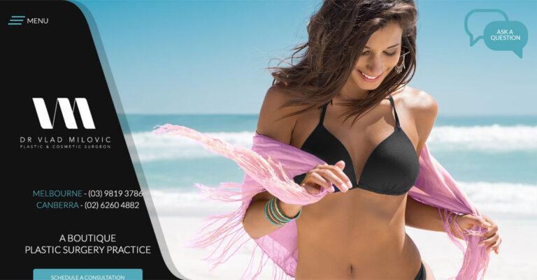 Specialist plastic surgeon Dr Vlad Milovic reveals new custom website with modern features