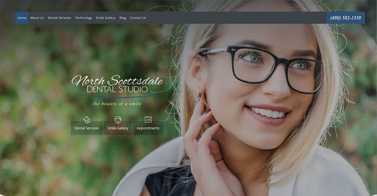 North Scottsdale Dental Studio undergoes a website makeover from Rosemont Media.