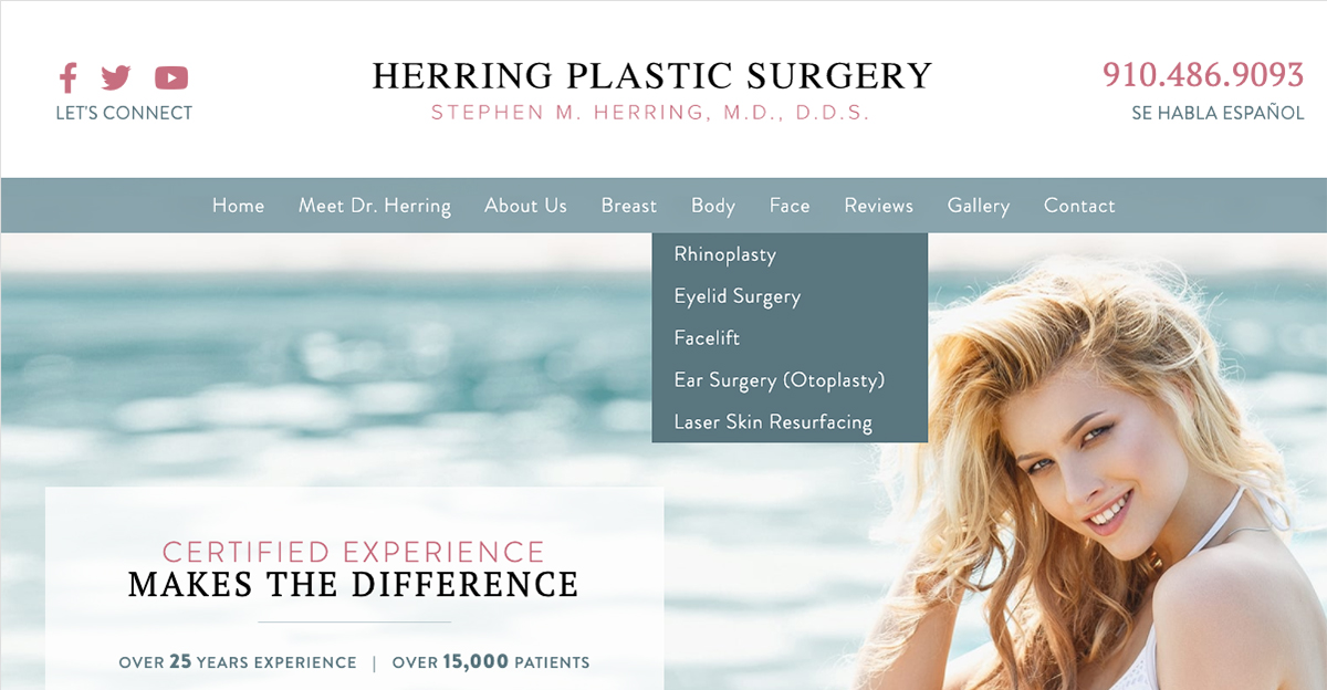 Stephen Herring, MD teamed with Rosemont Media to launch a new responsive plastic surgery website.