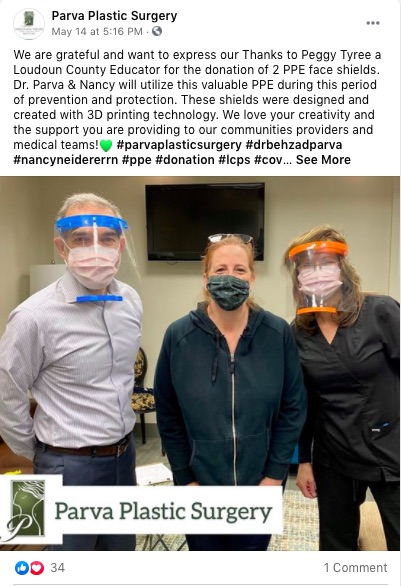 PArva Plastic Surgery thanks community for donations of PPE