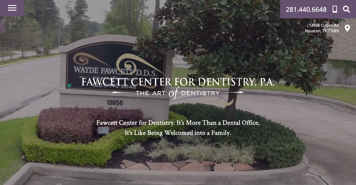 Rosemont Media created a new responsive website for Fawcett Center for Dentistry in Houston, TX