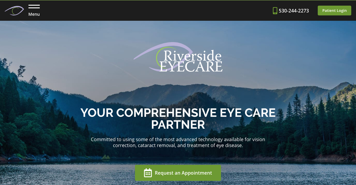 Riverside EyeCare Professionals in Redding CA Premiers Advanced New Website