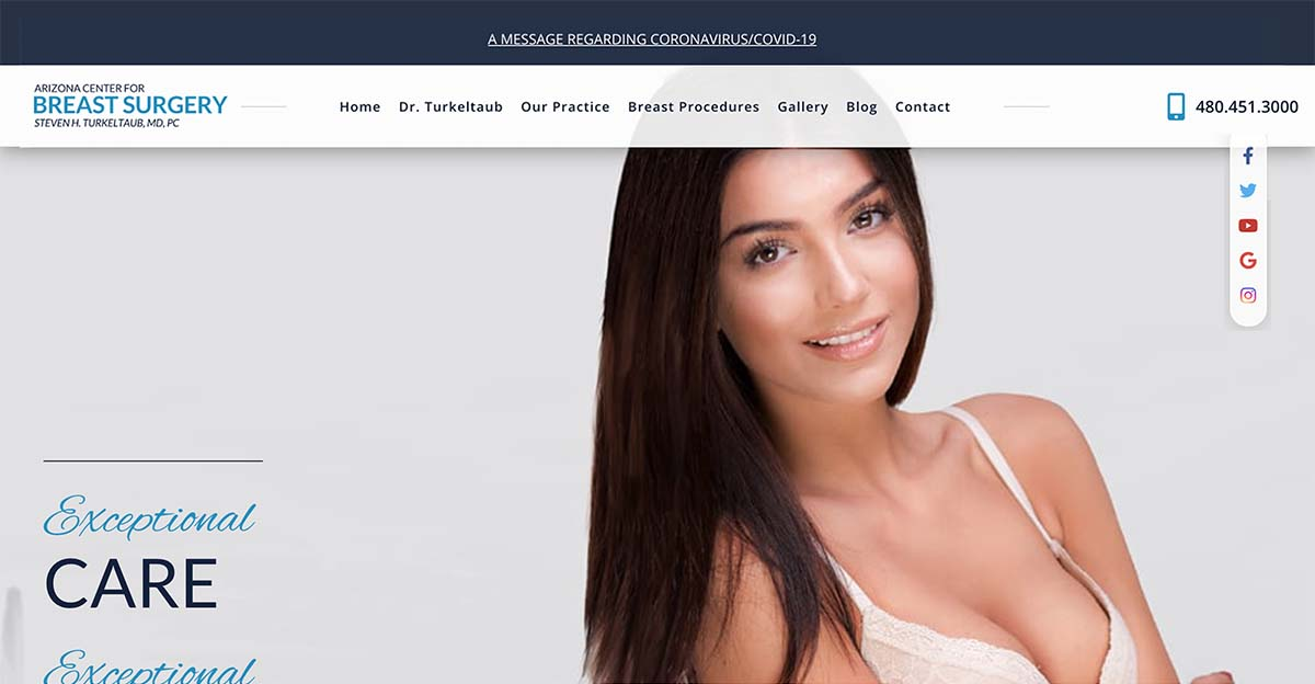 Scottsdale plastic surgeon Dr. Steven Turkeltaub collaborated with Rosemont Media to update his breast surgery website.