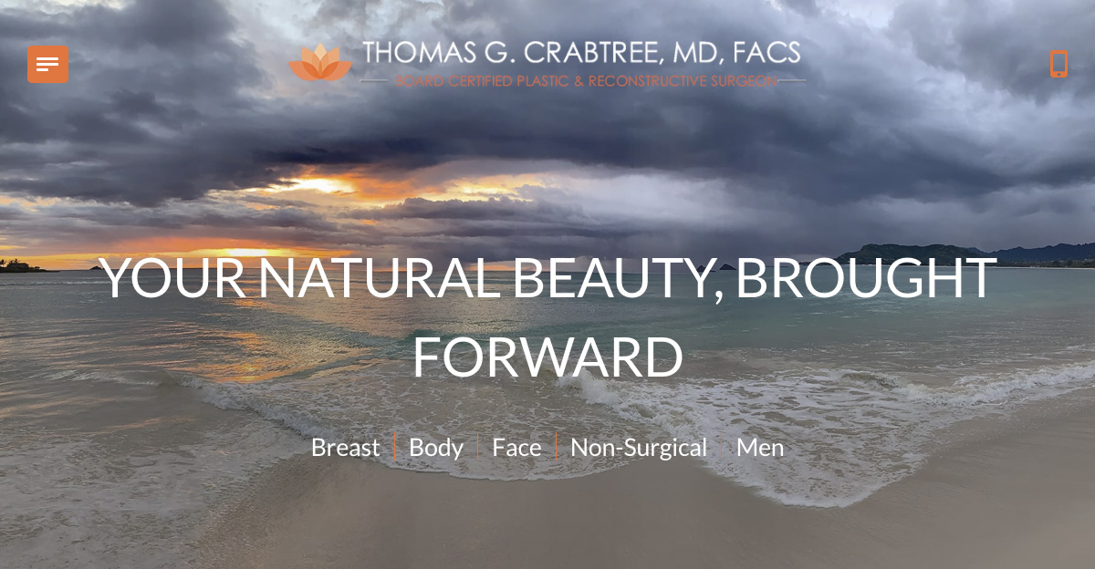 Rosemont Media created a new responsive website for Honolulu plastic surgeon Dr. Thomas Crabtree
