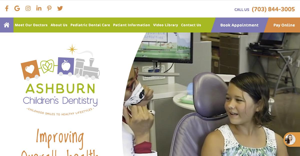 Rosemont Media created a new website for Ashburn Children's Dentistry in Ashburn, VA