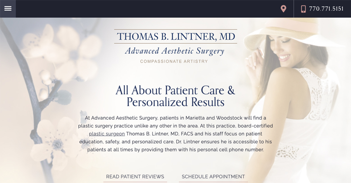 Rosemont Media created a new responsive website for board-certified plastic surgeon Dr. Thomas Lintner