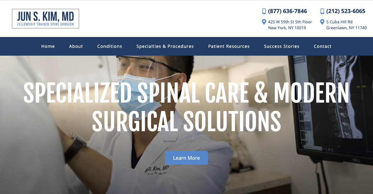 Rosemont Media created a new responsive website for fellowship trained spinal surgeon Dr. Jun S. Kim