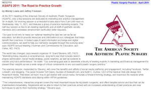 social, media, marketing, plastic, surgery, ASAPS, 2011