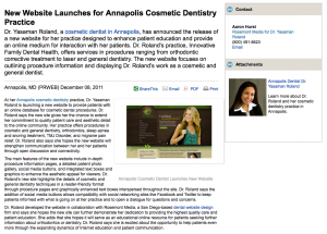 cosmetic, dentist, dentistry, website, announcement, annapolis, md