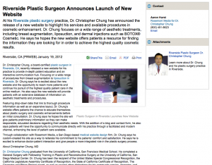 plastic, surgeon, surgery, website, launch, riverside, corona, ca