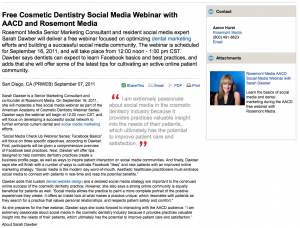 dental, dentist, marketing, social, media, webinar, aacd, facebook, dentistry